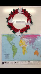 Poppy wreath with map